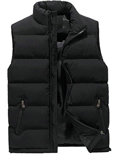 RRINSINS Men's Classic Stylish Packable Stand Collar Puffer Down Vest Sleeveless Lightweight Jacket Black XL ()