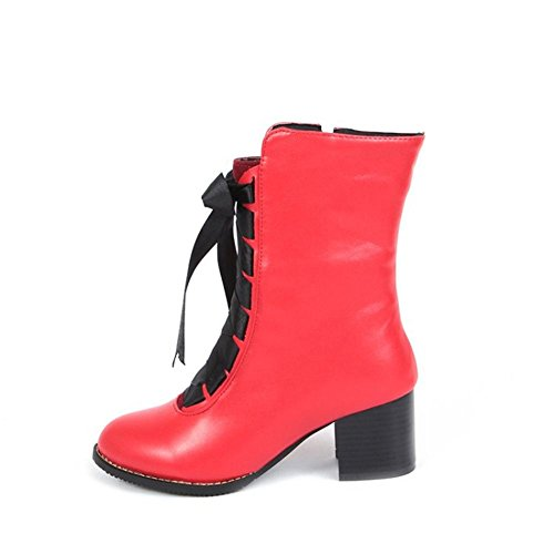 Red Tobillo Mujeres eur43uk9 Rough 39 Heel Negro Cuero Botas Cabeza Zapatos uk 6 Invierno Eur 5 6 Redonda Nvxie Otoño Tamaño Martín 5R1Cw1qx