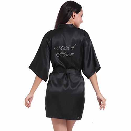 Boyann Nero Notte D'onore Pigiami Cristallo Camicie Vestaglie Da E Damigella Kimono ZHZqp