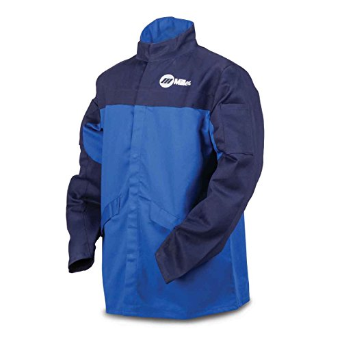 Welding Jacket, Royal/Nvy, Ctn INDURA, L by Miller Electric