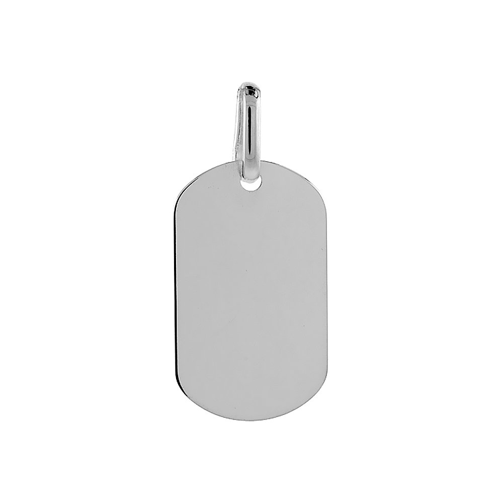 Sterling Silver Dog Tag Small Size 1 3//16 small size