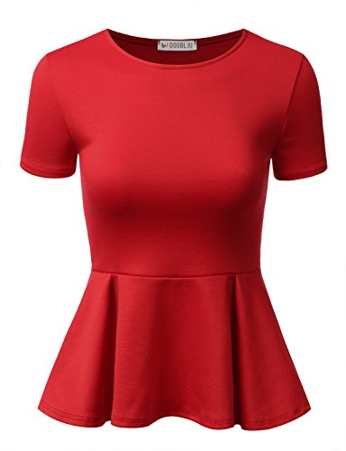 Doublju Stretchy Flare Peplum Blouse Tops for Women with Plus Size RED Large
