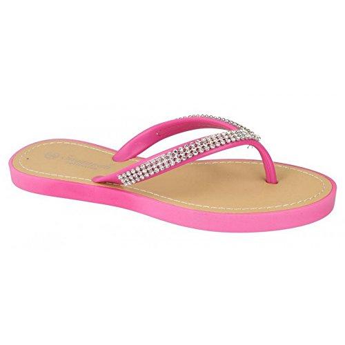 Savannah Damen Flip Flops mit Schmucksteinen Pink