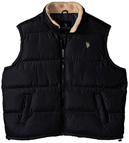 U.S. Polo Assn. Men's Big-Tall Signature Vest Inner Sherpa Collar, Black, 2X