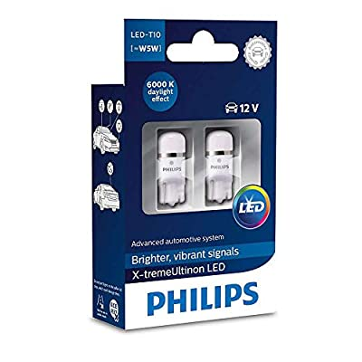 Pack of 2 Xtreme Vision 360 X treme Ultinon Philips W5W T10 194 168 LED Bulbs (6000K) more light than conventional Interior Lighting, Provides Huge Lifetime: Automotive