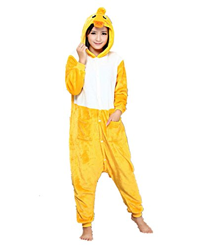 Popular Halloween Costumes For 2016 (MizHome Unisex Kigurumi Anime Pajamas Costume Adult Animal Cosplay Duck L)