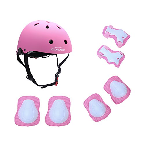 Kamugo Kids Youth Adjustable Sports Protective Gear Set Safety Pad Safeguard (Helmet Knee Elbow Wrist) Roller Bicycle BMX Bike Skateboard Hoverboard and Other Extreme Sports (Bike Helmet Safety)