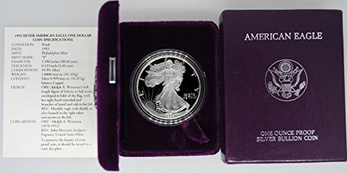 1993 P American One Ounce Silver Eagle in Original Packaging $1 Proof US Mint ()
