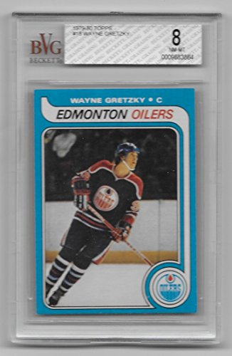 1980 Rookie Card (WAYNE GRETZKY 1979-80 Topps #18 Rookie Card Graded BVG 8 NM-MT BGS RC Oilers)