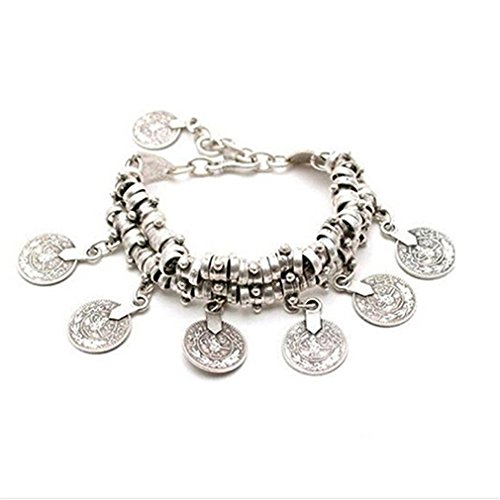 Drop Bangles It (SOURBAN Coin Drop Belly Bracelet Dance Bangle Ethnic Bohemian Style Jewelry Silver Plated Anklet Chain)