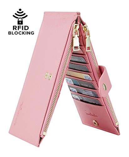 Travelambo Womens Walllet RFID Blocking Bifold Multi Card Case Wallet with Zipper...