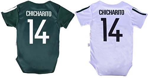 World Cup Baby Chicharito #14 Mexico Soccer Jersey Baby Infant and Toddler Onesie Romper Premium Quality - Home and Away PACK OF 2 (12-18, Pack of 2) ()