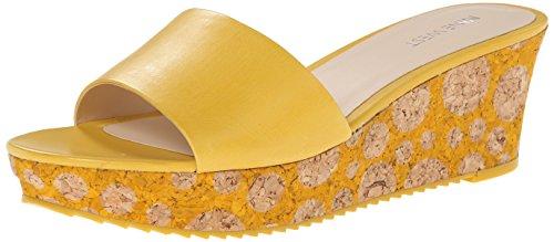 Nine West Women's Confetty Leather Wedge Sandal, Yellow, 8 M US