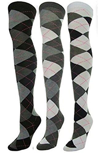 J.Ann 3 Pc / Pk Ladies Over-Knee-High Socks, White Jacquard Big Diamond Pattern.BLK/DGR/LGR_BLK/DGR/WHT_DGR/LGR/WHT
