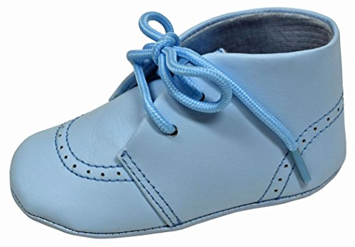 - L'Amour Baby Soft Leather Booties w/Tie Up Closure - White or Blue (3, Blue)