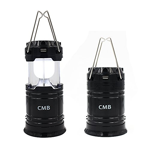 CMB 2-in-1 Rechargeable Camping Lantern Solar Flashlight Emergency Lantern with USB Power Bank (Black)
