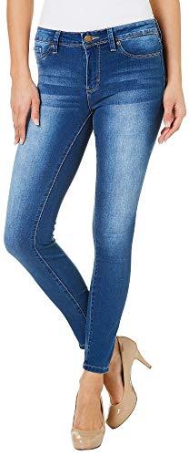 (YMI Juniors Mid Rise Dark Wash Skinny Jeans 3 Denim Light wash)