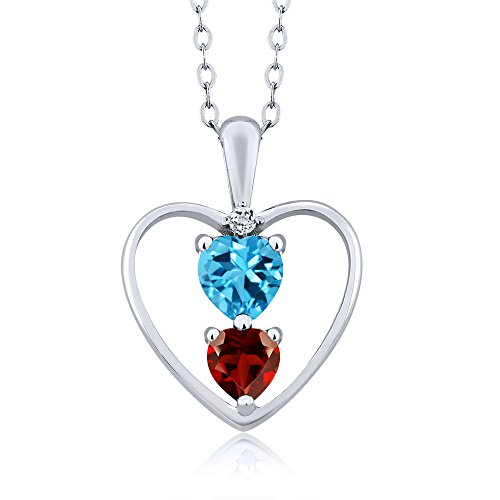 Gem Stone King 0.89 Ct Heart Shape Swiss Blue Topaz Red Garnet 925 Sterling Silver Pendant