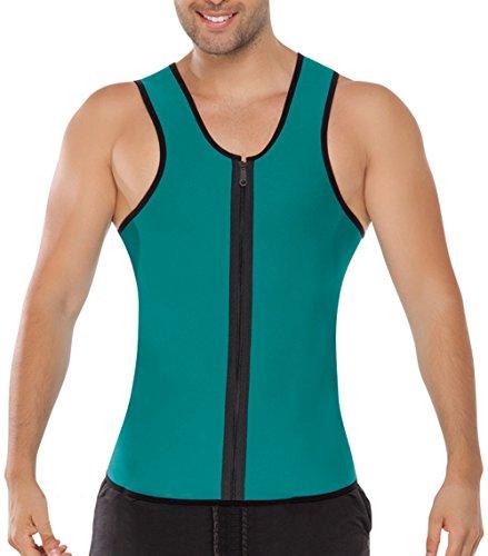 [NonEcho 10mm Neoprene Sweat Vest Mens, Green, Black Reversible, Front Zip Green, Large] (Green Man Body Suit)