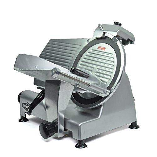 KWS MS-12NT Premium Commercial 420w Electric Meat Slicer 12-Inch Non-sticky Teflon Blade, Frozen Meat/Cheese/Food Slicer Low Noises Commercial and Home Use