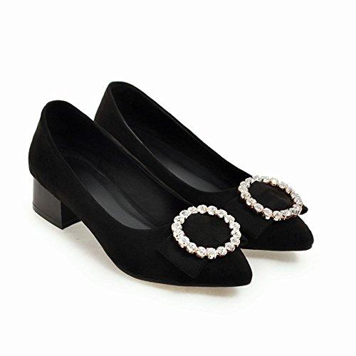 Mee Shoes Damen chunky heels Nubukleder Strass Pumps