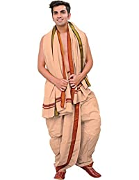 Exotic India Ready to Wear Dhoti and Angavastram Set wi