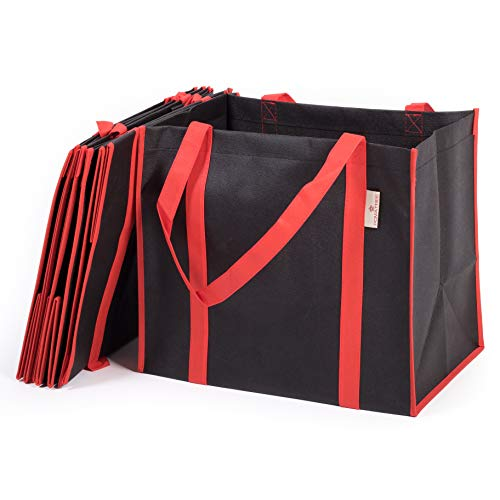 Flat Bottom Tote Bags - Reusable Grocery Bags Shopping Tote Bag (5 pack) | Foldable Large Grocery Tote Shopping Bags | Durable and Strong for 35+ Lbs with Hard Bottom Supported by All-Around Reinforced Handles (Black/Red)