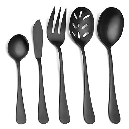 Satin Serving Flatware - Matte Black Serving Set,SHARECOOK 5-Piece 18/0 Stainless Steel Large Hostess Set with Round Edge, Satin Finished, Dishwasher Safe -Spoons, Forks,Butter Knife& Slotted Spoon