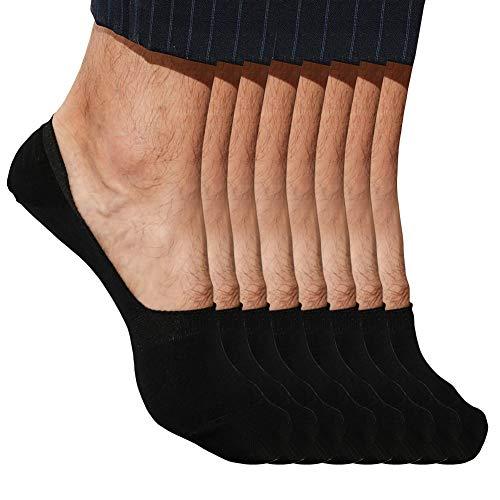 No Show Socks For Men and Women Low Cut Loafer Socks Mens Pack 100% Cotton Socks (M (Women Shoe Size 6-8.5), Black 4 Pack)