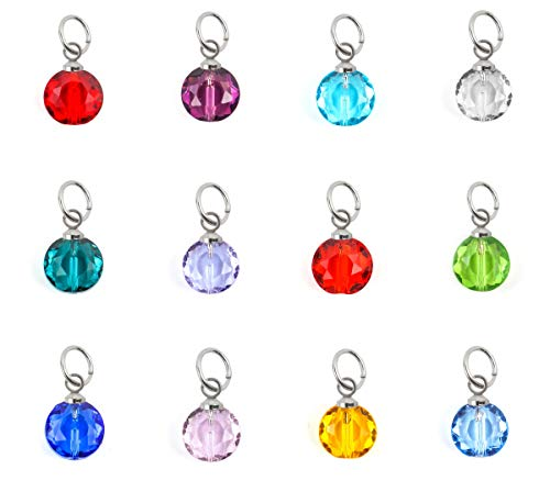 1 Set Birthstone Charms 10mm Austrian Mini Round Crystal Beads with Jump Rings (12pcs) for Jewelry Craft Making BR14