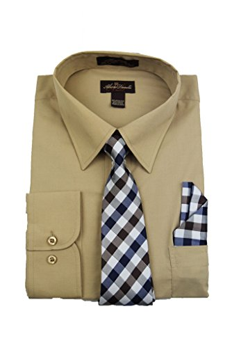 Alberto Danelli Men's Long Sleeve Dress Shirt with Matching Tie and Handkerchief, Medium / 15-15.5 Neck -33/34 Sleeve, Latte