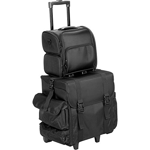 Hiker T5373 2-In-1 Soft Sided Professional Rolling Trolley Makeup Artist Cosmetic Travel Case, Black Nylon by Hiker