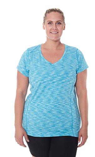 Aqua Womens Shirt (NYL Women's Short Sleeve V-Neck Workout T-Shirt With Space Dye Detail Aqua Falls Plus Size 3X-Large)
