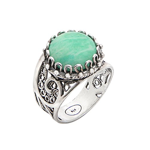 925 Sterling Silver Amazonite Round Filigree Paisley Ring (Size 6 - 10) (6)