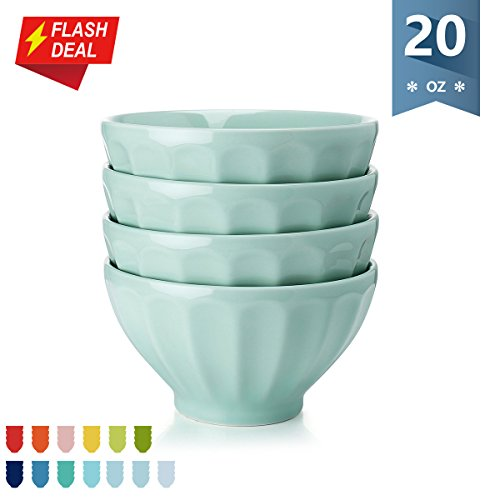 Fluted Stoneware - Sweese Porcelain Fluted Latte Bowl Set - 20 Ounce Stable and Deep - Microwavable Bowls for Cereal, Soup - Set of 4, Light Green