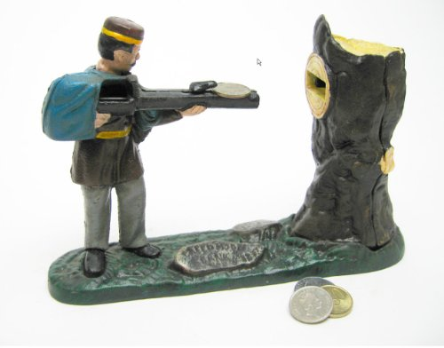(Rifle Range Hunter Collectors' Die Cast Iron Mechanical Coin Bank Military)