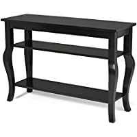 Kate and Laurel Lillian Wood Console Table with Display Shelves - Cabriole Legs - Easy-Build Home Decor