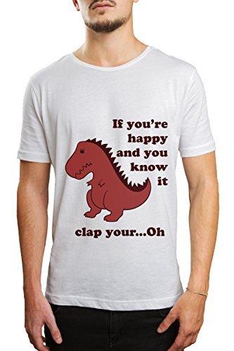 Männer T-Shirt mit - Clap Your Hands - Aufdruck Weiss