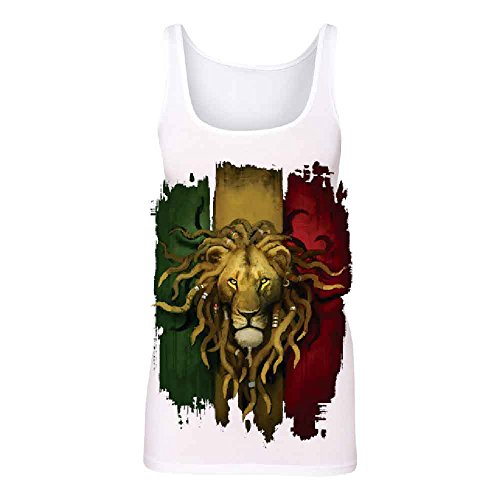 Rasta Lion Rastafarian Haile Selassie Women's Tank Top Fashion Quality Shirts White (Selassie Halloween)