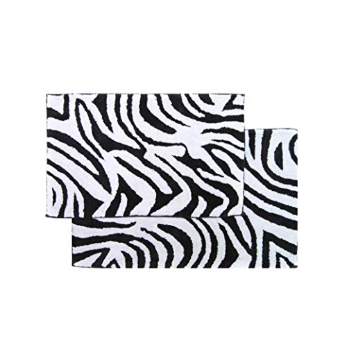 Chesapeake 2-Piece Zebra 21-Inch by 34-Inch and 24-Inch by 40-Inch Bath Rug Set, Black and White