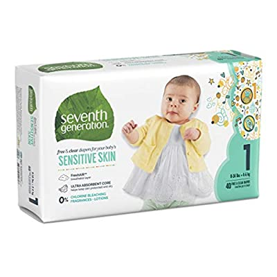 Seventh Generation Free and Clear Sensitive Skin Size 1 Baby Diapers with Animal Prints 160 Count