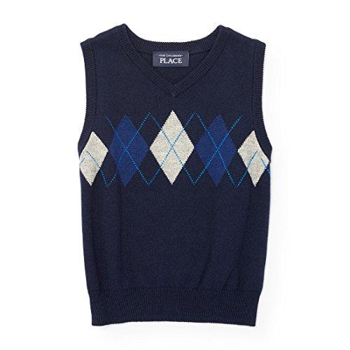 The Children's Place Baby Boys' Little Argyle Sweater Vest, Tidal 94067, 3T