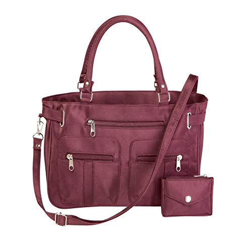 Women's Stylish Double-Handle Zippered 6-Pocket Microfiber Handbag and Matching Coin Purse, Burgundy, One-Size (Double Handle Handbags)