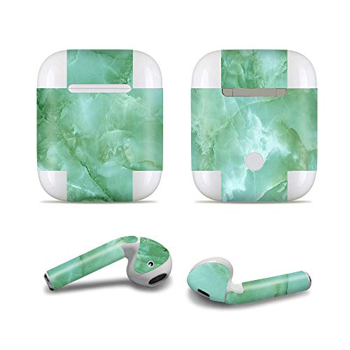 Masino Bluetooth Headset Protective Sticker Protector Decal Skin Cover for Apple AirPods 2 & 1 with Charging Case, NOT Compatible with AirPods 2 Wireless Charging Case (Decal- Marble Green) ()