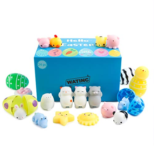 WATINC 24 Pcs Easter Eggs Filled with Mochi Squishies Colorful Cute Animal Squishy Kawaii Mini Soft Squeeze Toy Fidget Hand Toy for Kids Stress Relief Decoration Simulation Lovely Slow Rising Toy