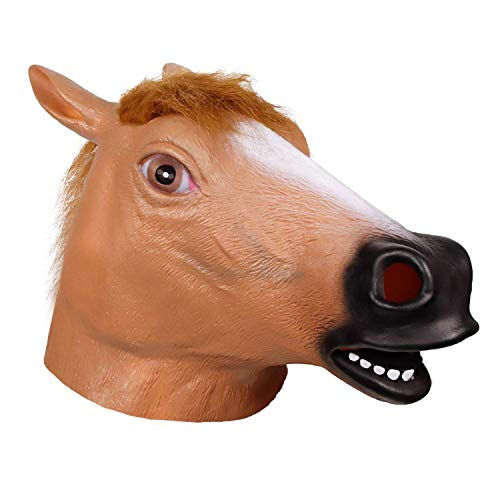 Waylike Horse Head Latex Rubber Toy Animal Head Mask Broncos Fan Full Head Mask for Costume Party and Festivals -