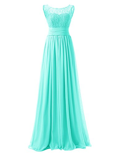 Fashion Long Lace Top Chiffon Bridesmaid Dresses Wedding Guest Wear Dress Aqua US16W