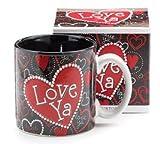 Love Ya Heart Valentines Day Red & Black 13oz Coffee Tea Mug- Kitchen Gift
