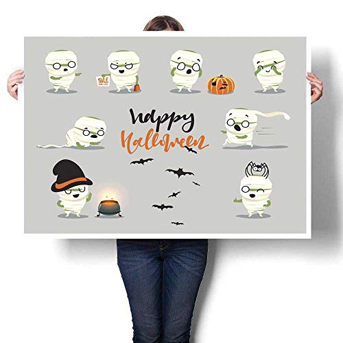 Landscape Canvas Happy Halloween Set Cute Cartoon Character Costumes Zombie Mummy Decorative Fine Art Canvas Print Poster K 48