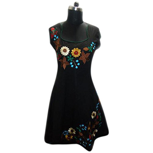 Ladies Black Cotton Tunic Neck Flower Embroidered Dress (xxl)